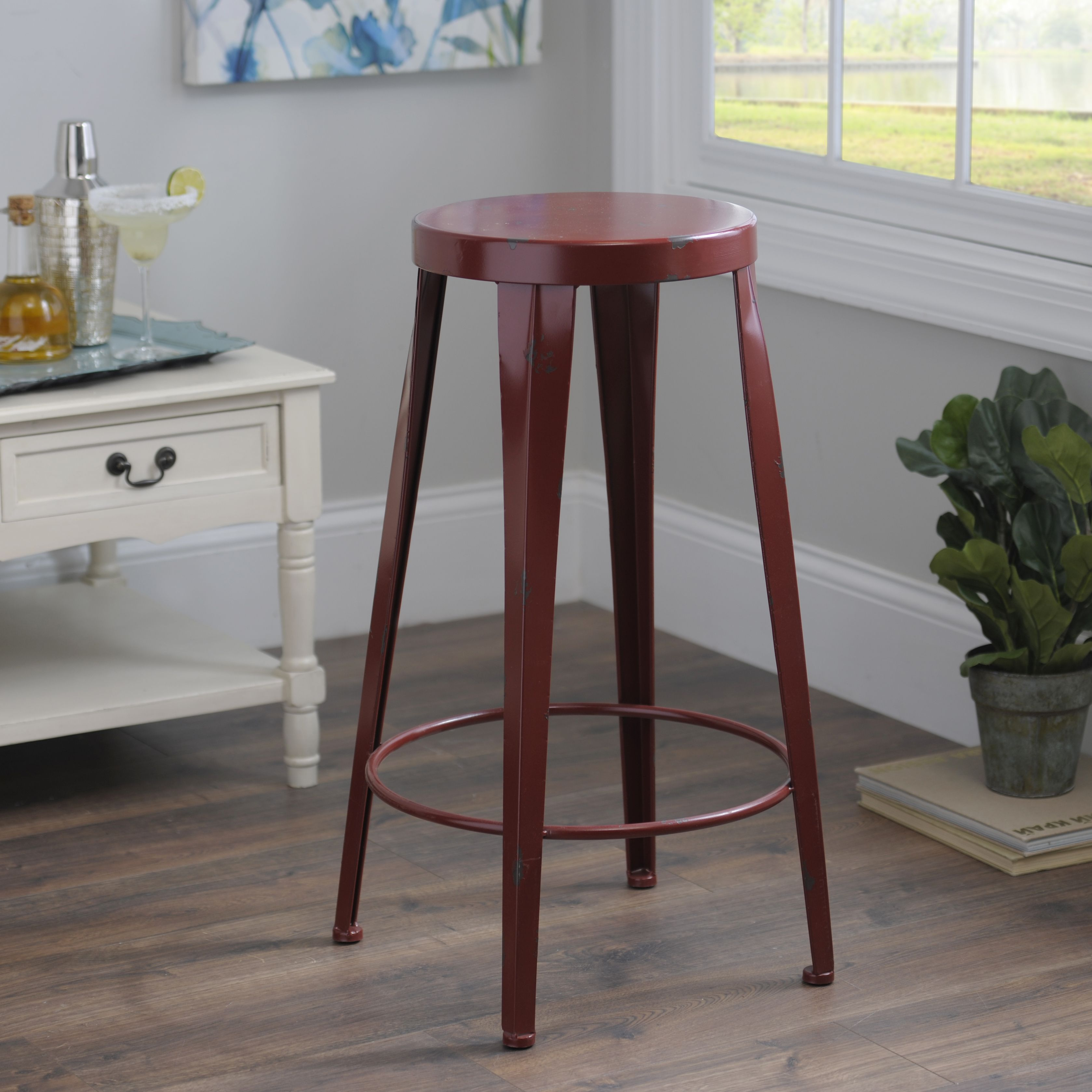 complete your bar with a modern red metal bar stool it's