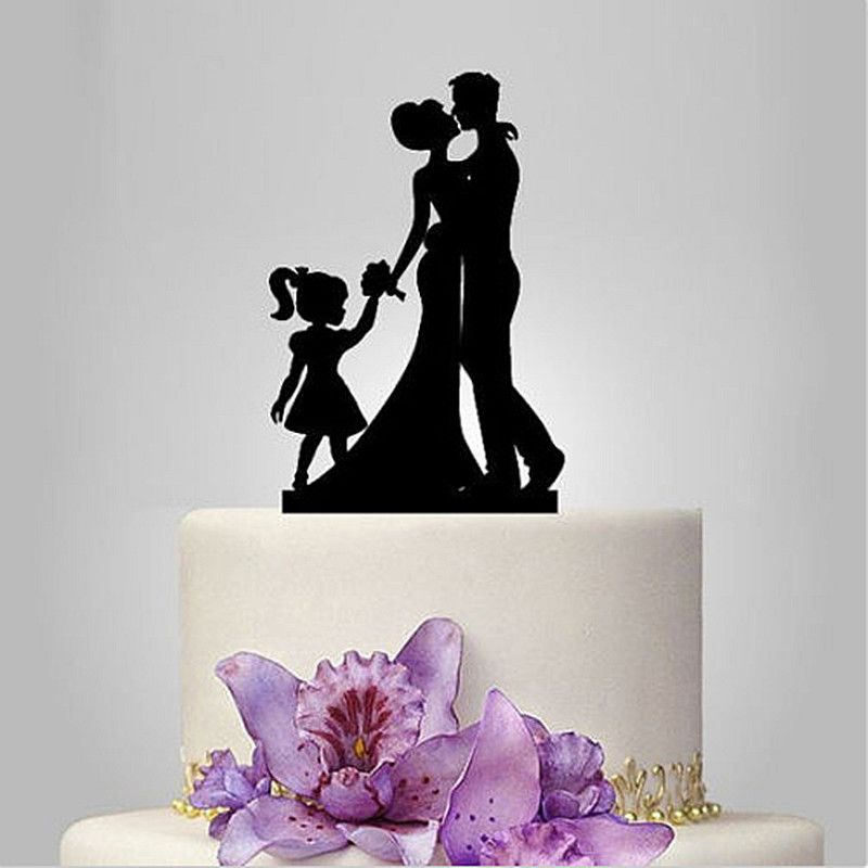 Family Bride Groom Child Girl Daughter Silhouette Wedding Cake Topper
