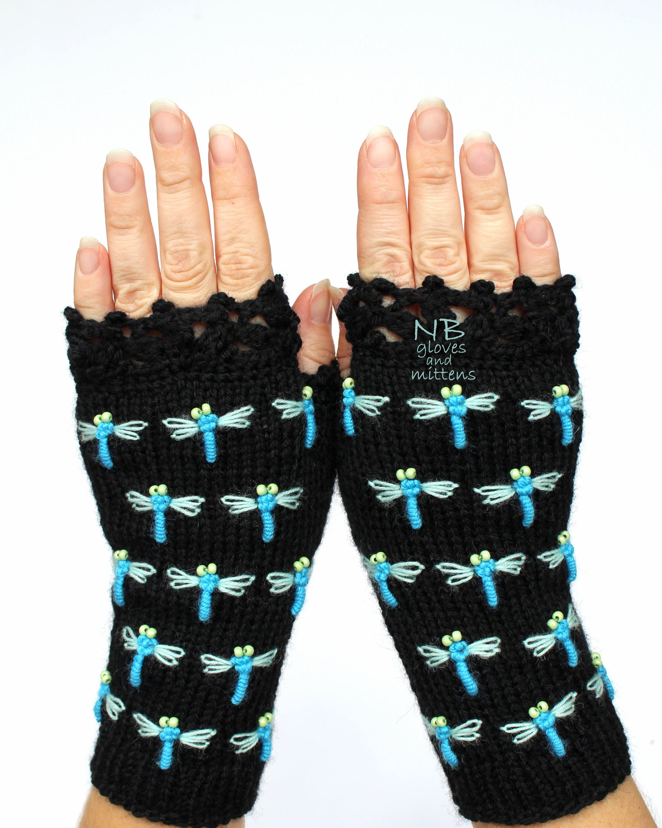 Black Fingerless Gloves With Dragonflies Hand Knitted