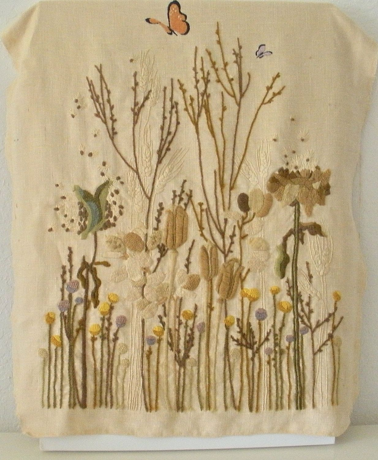 Large Handstitched Wool on Linen Tapestry.