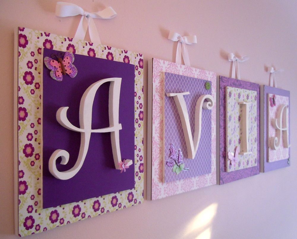 Purple Nursery Wall Art Purple Nursery Letters Butterfly Nursery,Girls Letters