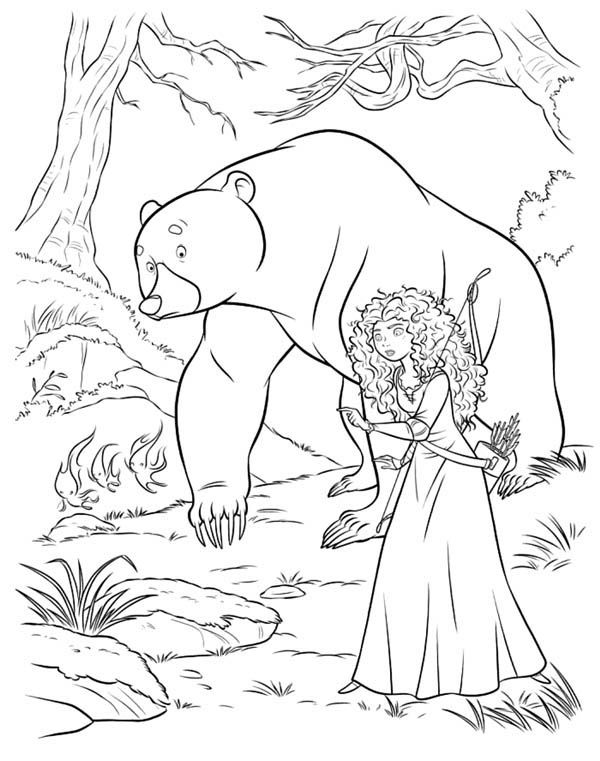 Merida And Mor Du In Disney Brave Coloring Page Disney Coloring Pages Cartoon Coloring Pages Coloring Pages