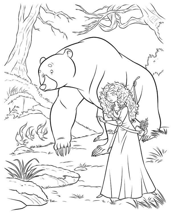 Merida and Mor\'du in Disney Brave Coloring Page | Zentangle ...