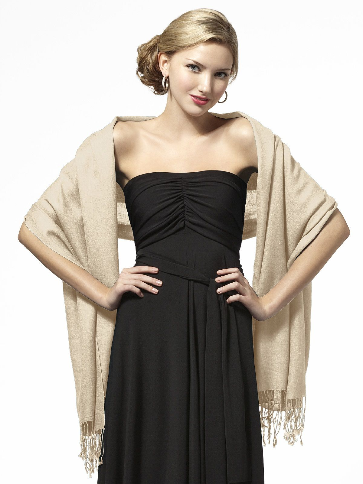 Try adding a colored shawl to black bridesmaids dresses for Shawls for wedding dresses