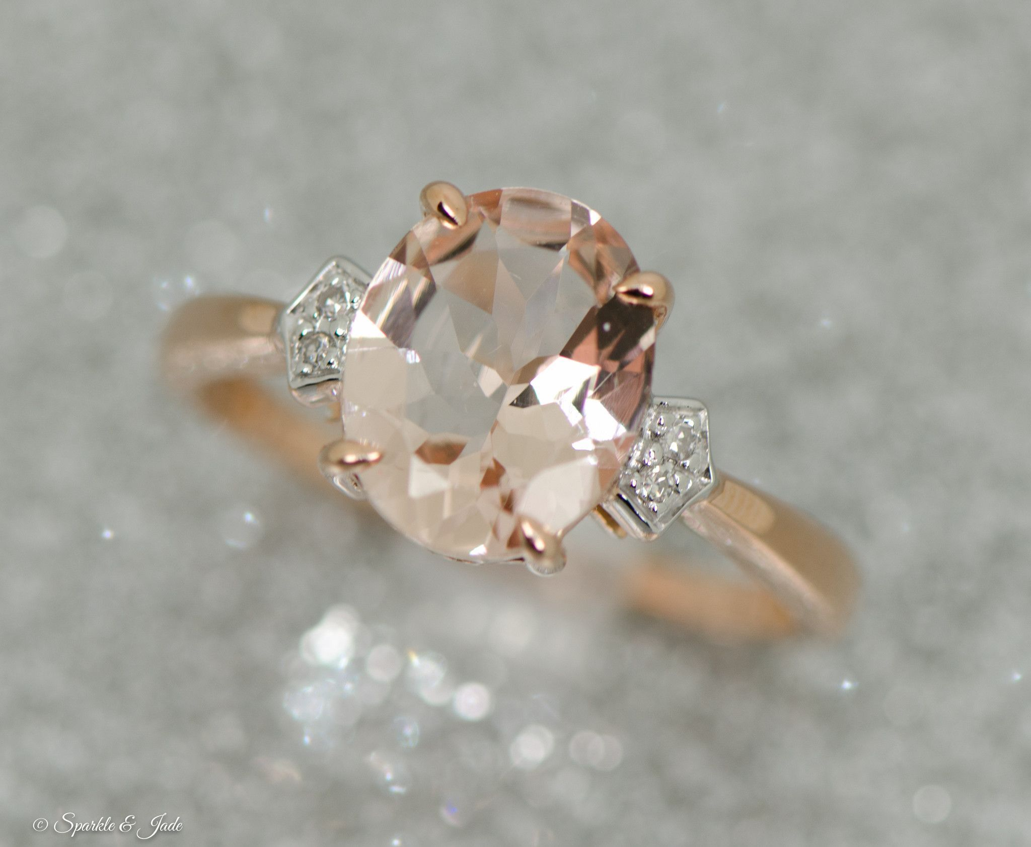 K rose gold diamond and morganite ring halo engagement rings