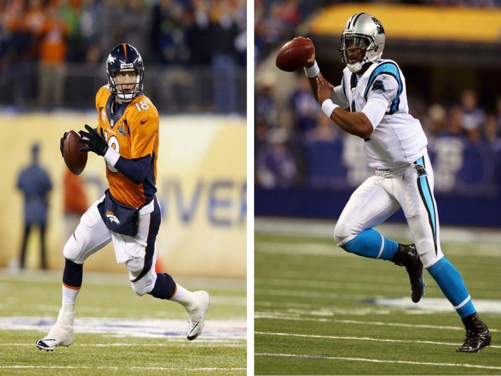Peyton Manning de los Broncos de Denver (i) y Cam Newton de los Panthers de Carolina (i). Cuenta atrás para la Super Bowl, este domingo, en su 50 aniversario