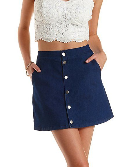 Button-Up Dark Wash Denim Skirt: Charlotte Russe #skirt ...