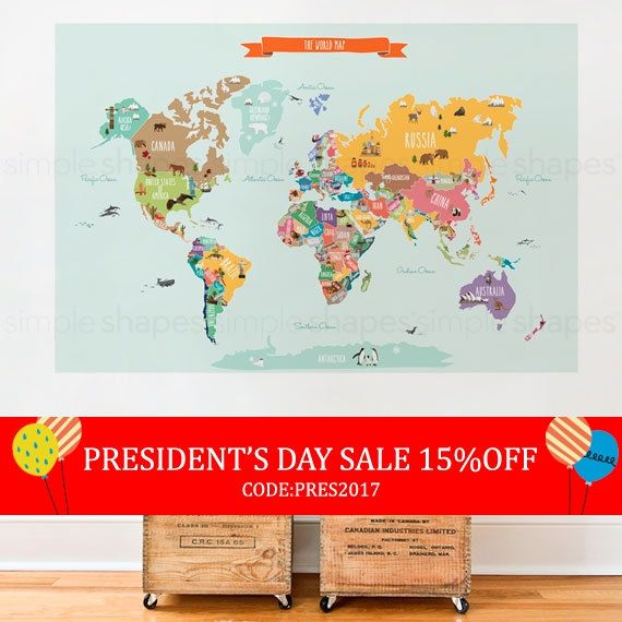 World Map Decal Countries Of The World Map Kids Country World Map - World map posters for sale