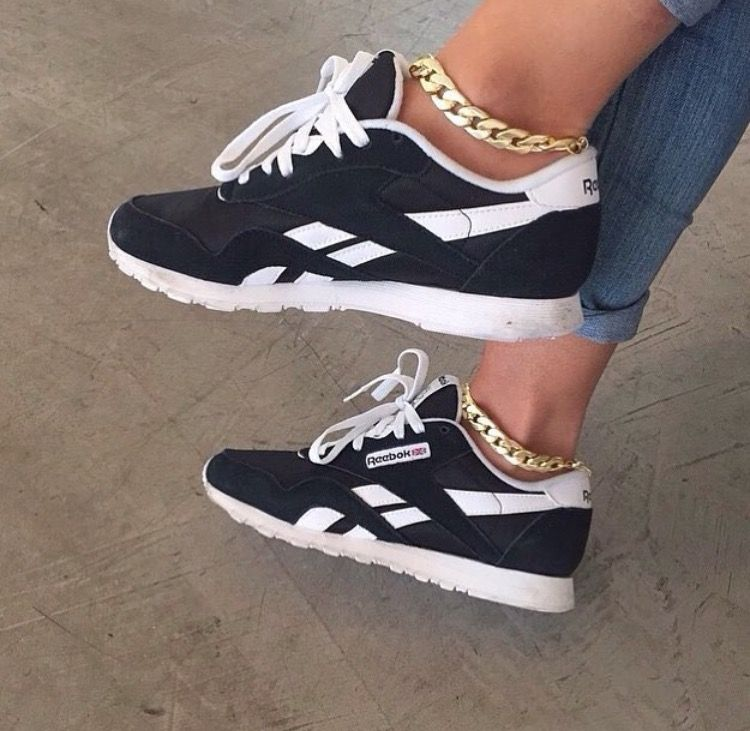 Reebok Trainers Footwear Black White Gold Anklets Jewellery