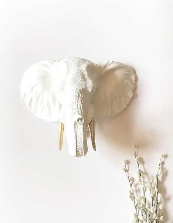 Elephant Head Wall Decor large white with gold tusks faux taxidermy elephant head wall