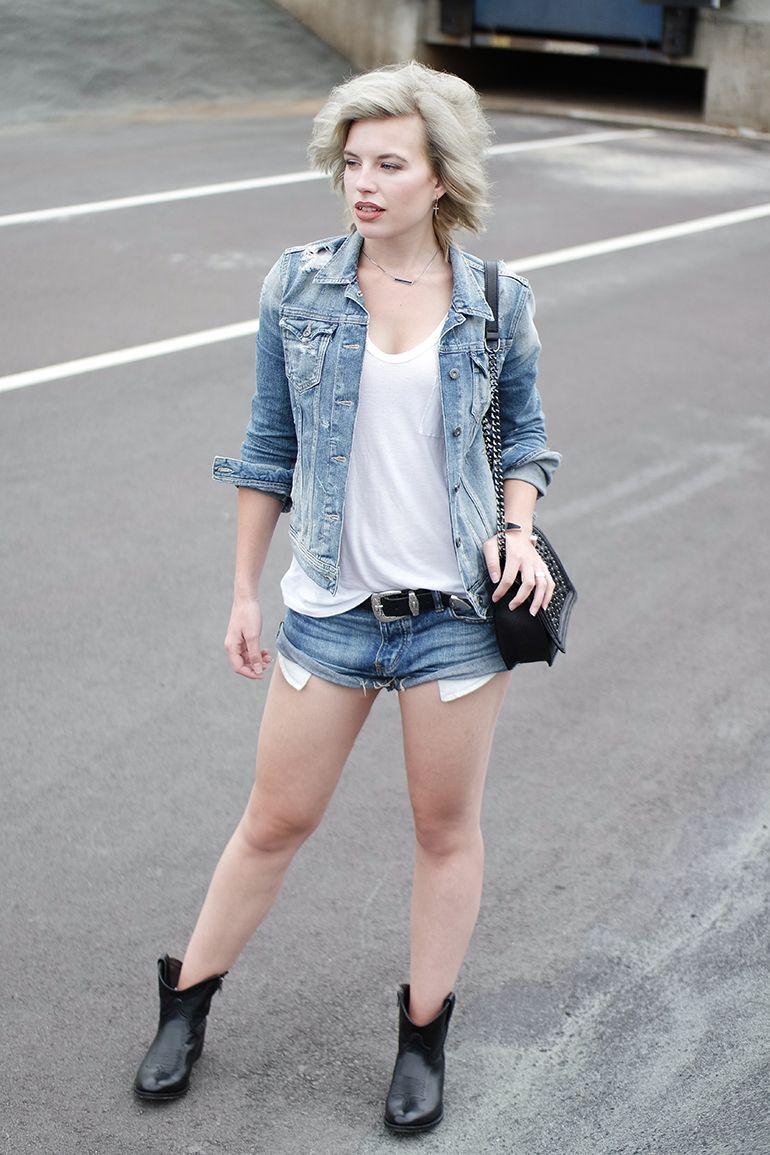 85a3d281f6e RED REIDING HOOD  www.redreidinghood.com Fashion blogger wearing denim on  denim one teaspoon shorts pepe jeans jacket outfit sendra boots