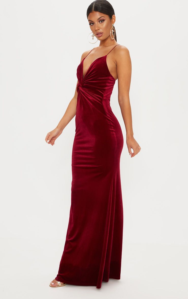 fe738a361d54d Wine Velvet Knot Front Maxi Dress 4   formal 2019   Dresses, Sangria ...