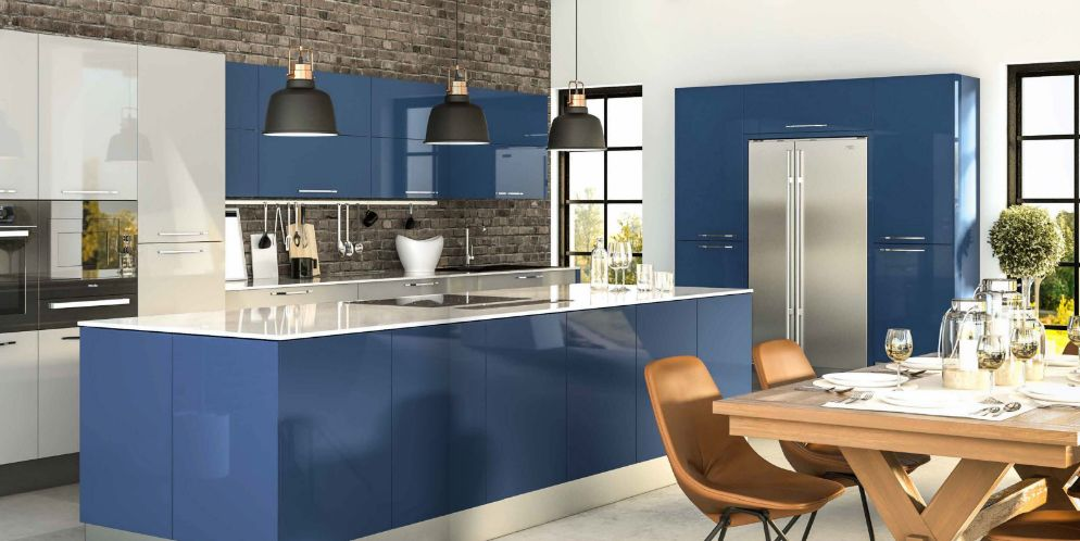 Best High Gloss Acrylic Baltic Blue Kitchen Contemporary 400 x 300