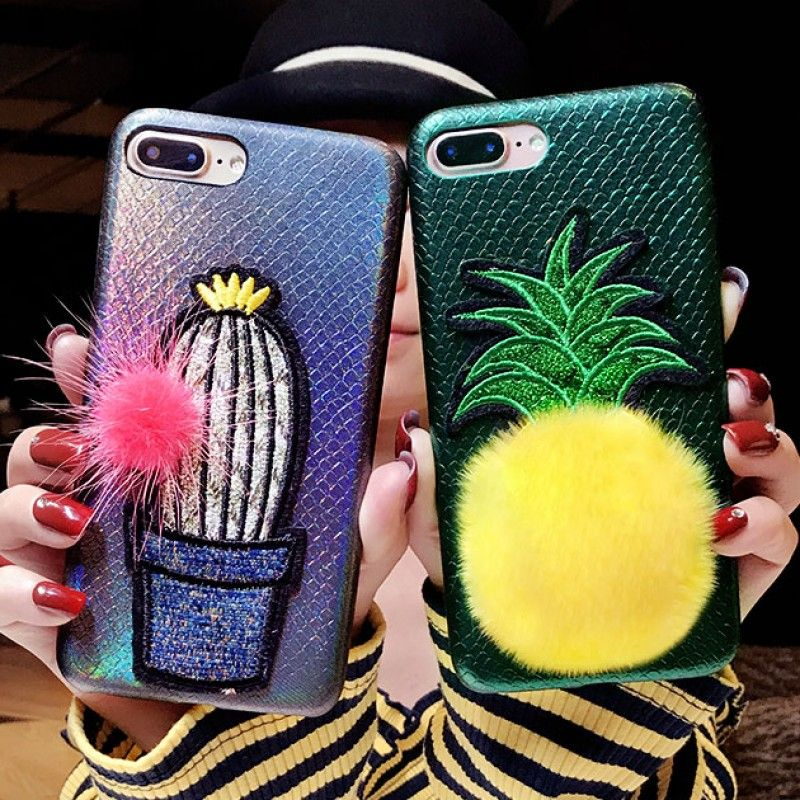 cute 3d embroidery cactus pineapple soft case for iphone x 8