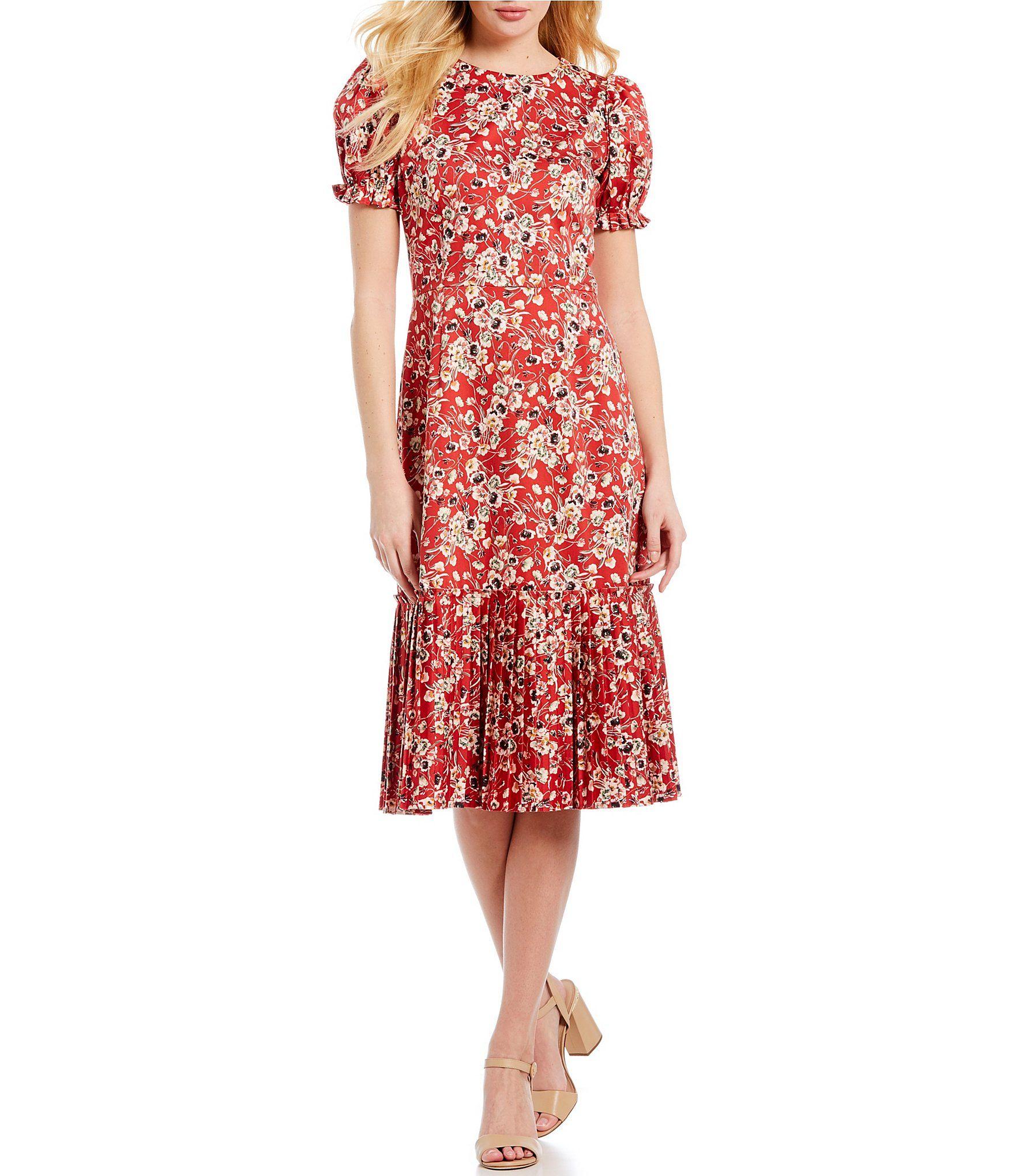 9b379c84923 Antonio Melani Chloe Pleated Floral Print Puff Sleeve Midi Dress  Dillards