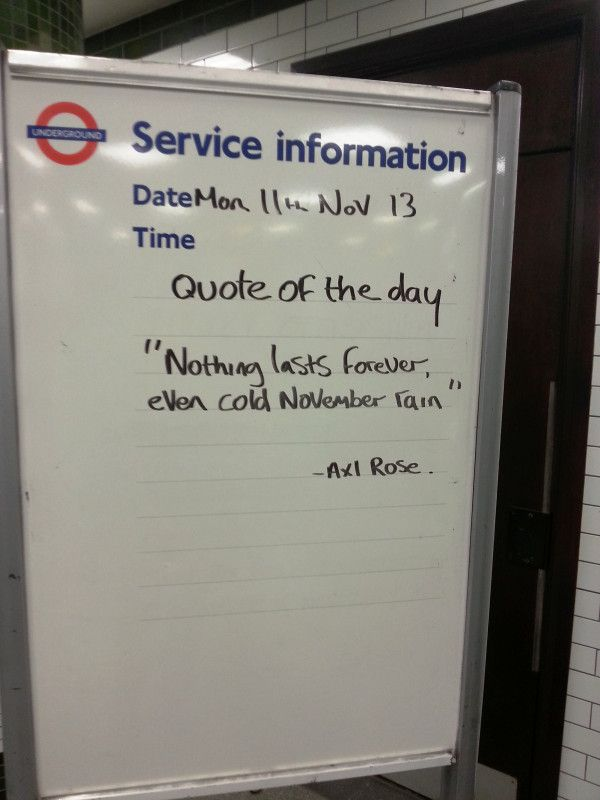 Best ever Tube station inspirational quote Work