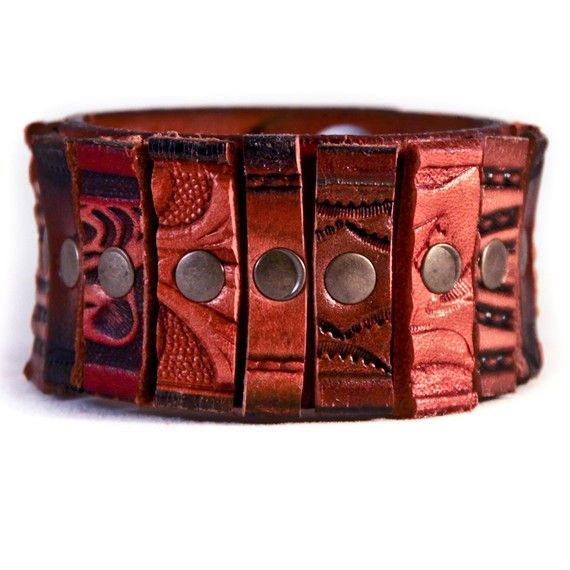 Handmade Vintage Leather Cuff Bracelet. Available at http://www.rainwheel.etsy.com $50