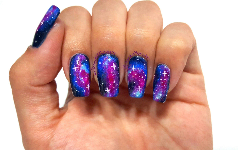 Galaxy nail art design.   My Nail Art   Pinterest   Galaxy nail art ...