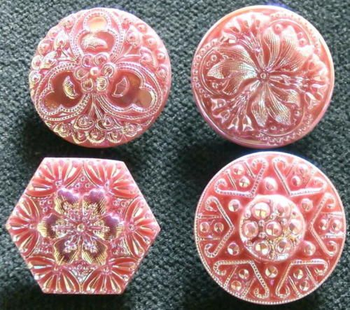 Collection-of-4-UNIQUE-Czech-PINK-Glass-Buttons-D282-IRIDESCENT-FINISH