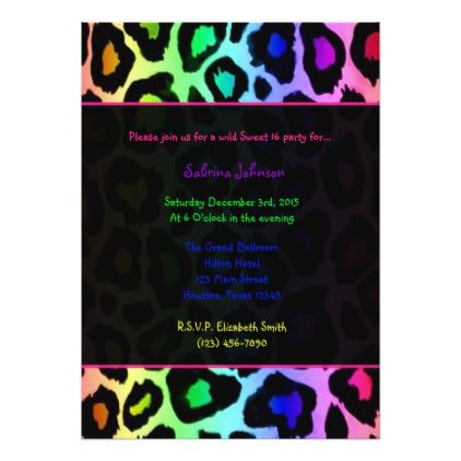 Rainbow Cheetah Wild Sweet 16 Birthday Party Invitation | Zazzle.com #sweet16birthdayparty