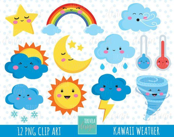 WEATHER clipart, weather icons, commercial use, kawaii ...
