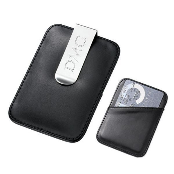 Personalized black leather card holder money clip wallet custom personalized black leather card holder money clip wallet custom engraved free ebay reheart Images