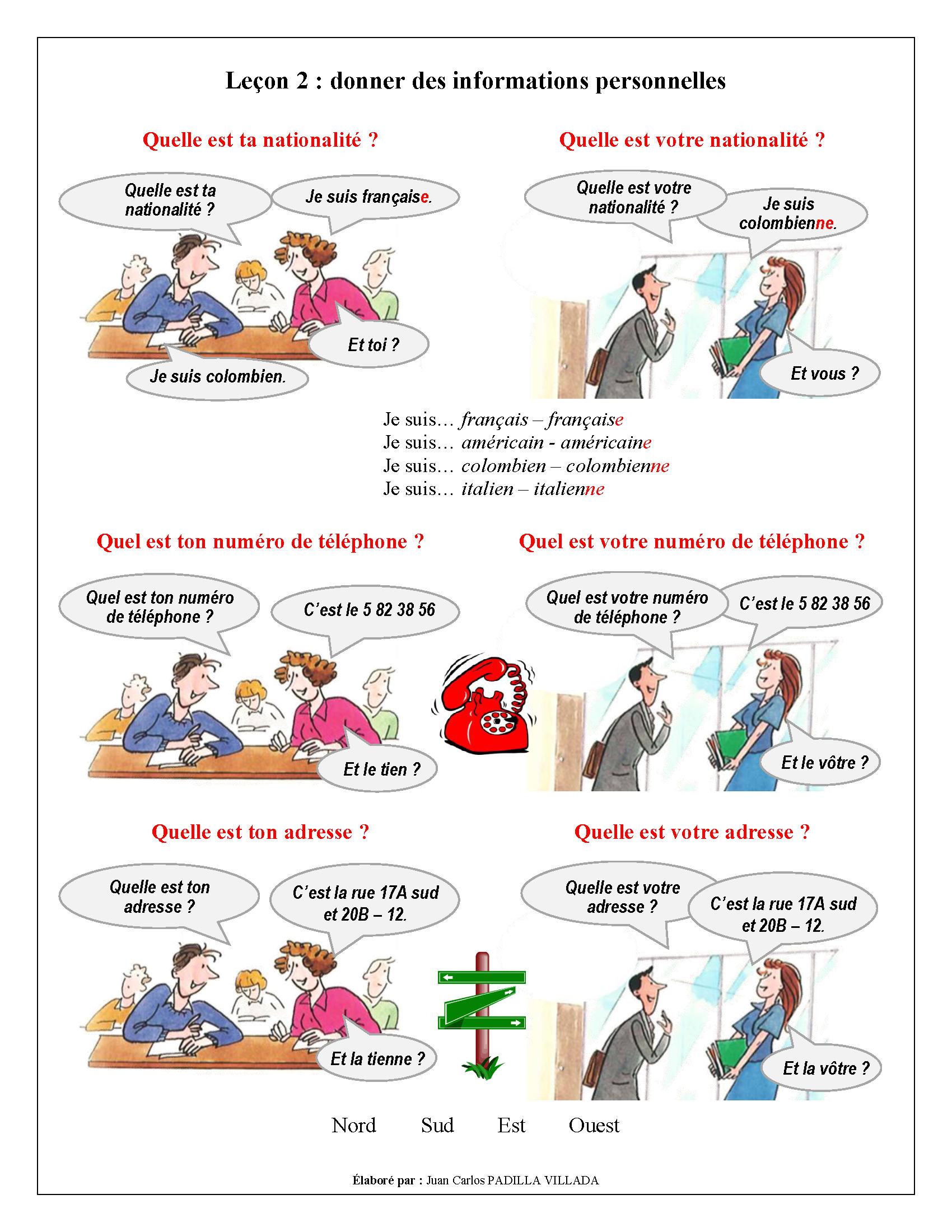 FLE - Leçon 2 - Donner des informations personnelles - Page 1 | Leçons de Français | Vocabulaire ...