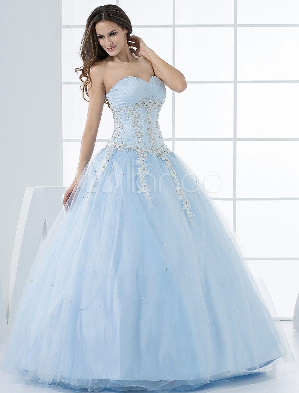 Princess Wedding Dresses Pastel Blue Quinceanera Dress Lace Applique ...