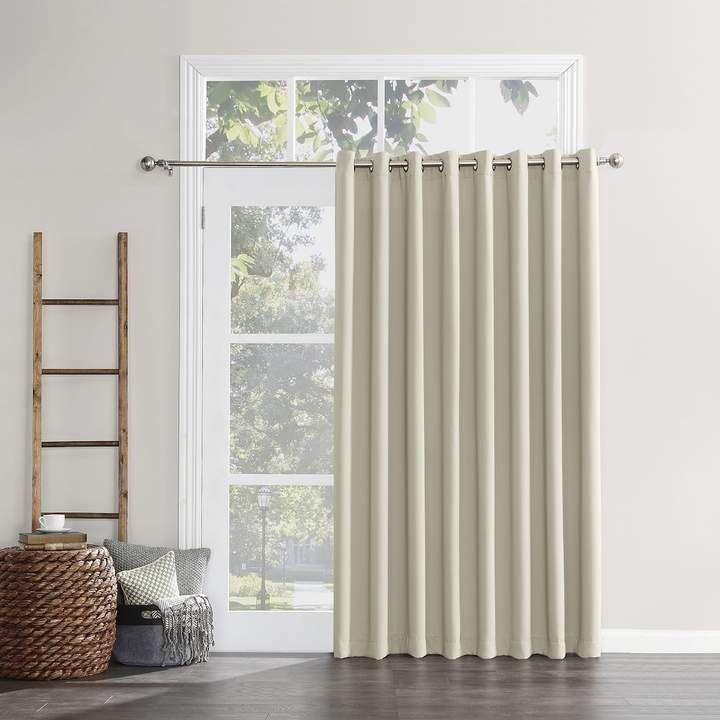 Sun Zero Mercer Blackout Patio Door Window Panel 100 X 84 Sliding Patio Doors Patio Doors Curtain For Door Window