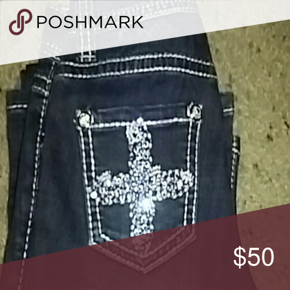 Girls Rock & Roll Jeans Dark blue jeans, boot cut, blue and clear rhinestone cross on back pockets Rock & Roll Cowgirl Bottoms Jeans