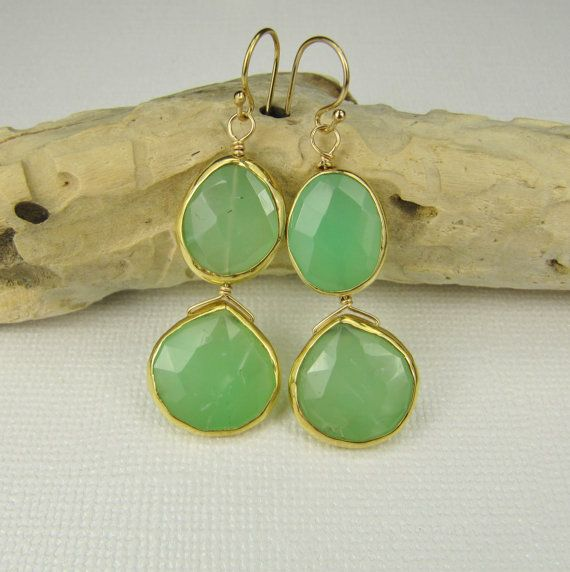 Faceted Bezel Set Lovely Chrysoprase by nicolemariejewelry on Etsy, $48.00
