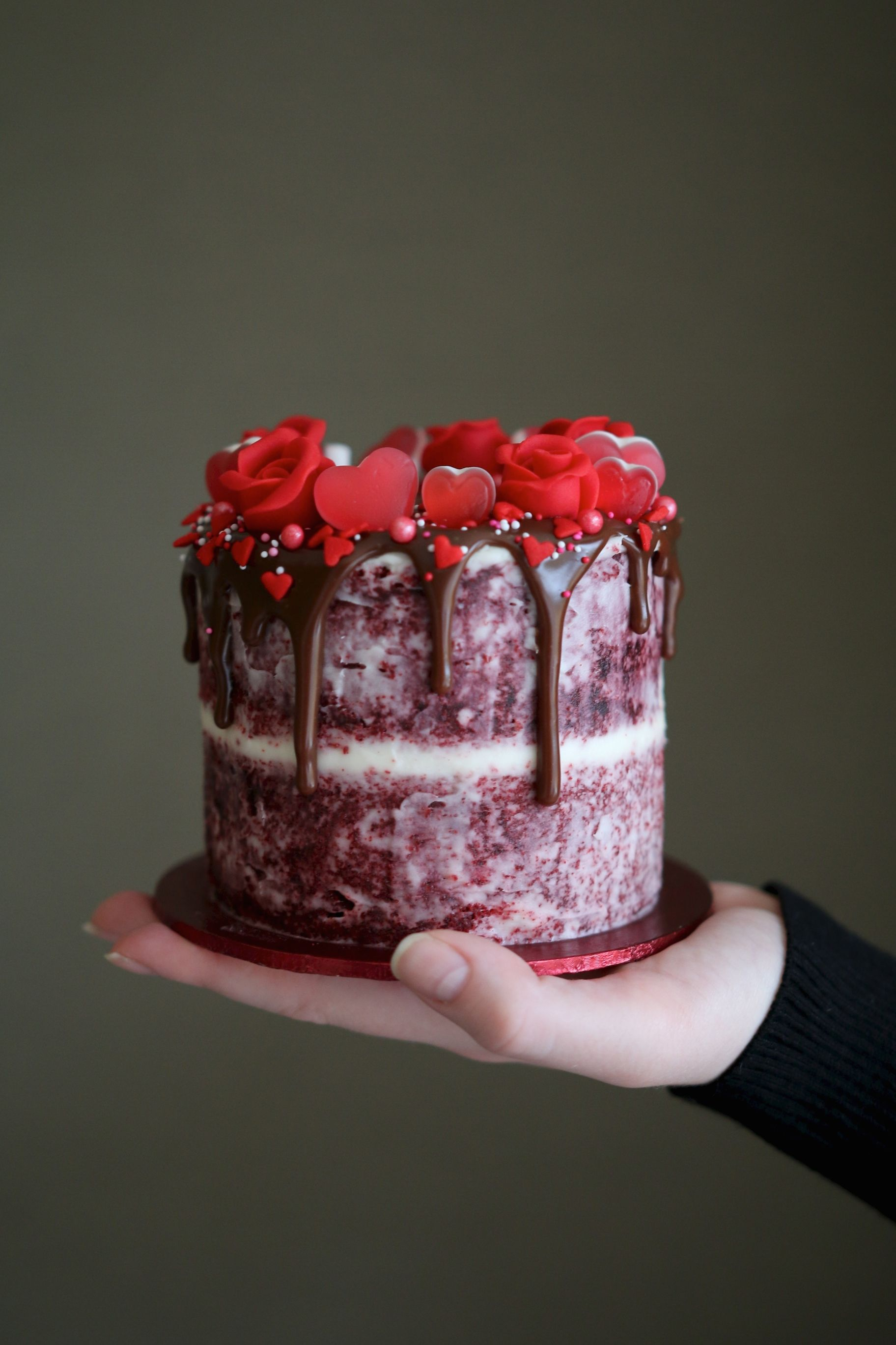 Red Velvet Valentine S Day Drip Cake For Two