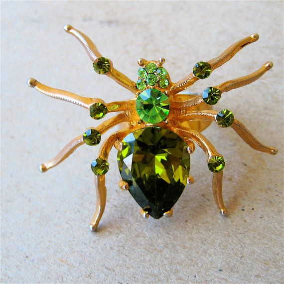 Vintage Glass Spider Ring Green Glass Cut by elansolete on Etsy