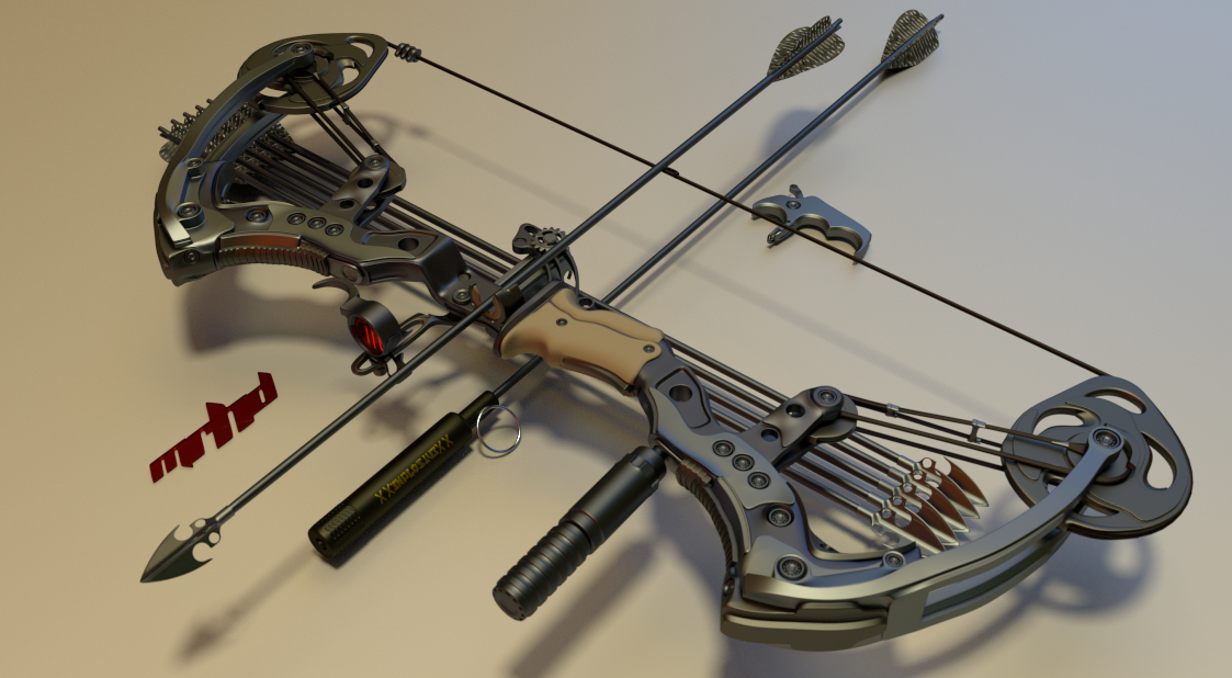 Hello. This thing might actually work out. Mechanic in the back pulls the bowstring with the slide, the slide pulls an arrow out of the magazine, shoot...simple and fast reload system. Blender/cycles