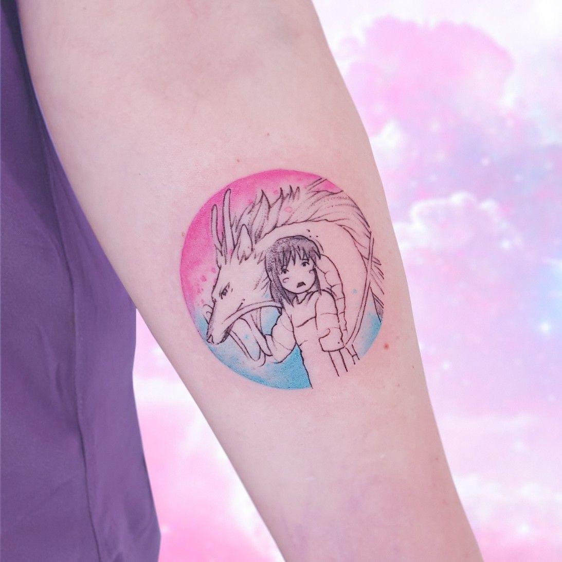 хаяо миядзаки аниме тату татуировка графика круг акварель хаку