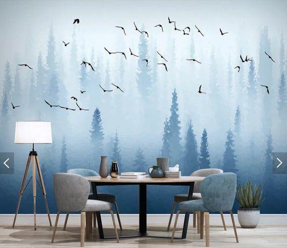 Wall mural лес, wallpaper mural, wallpaper for bedroom, removable wallpaper mural for bedroom, wall decor, home decor