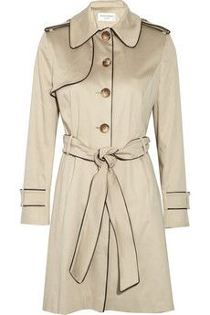 HELENE BERMAN  Piped stretch-cotton twill trench coat.. VERY nice.