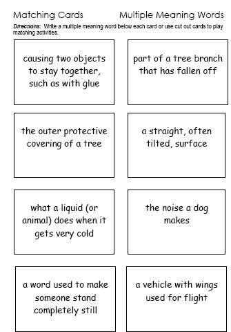Multiple Meaning Words A Website With Lists Worksheets And