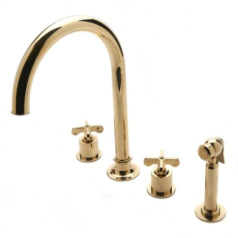 Henry Three Hole Gooseneck Kitchen Faucet Metal Cross