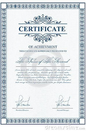 certificate template with guilloche elements blue diploma border design for personal conferment vector layout for award patent validation licence