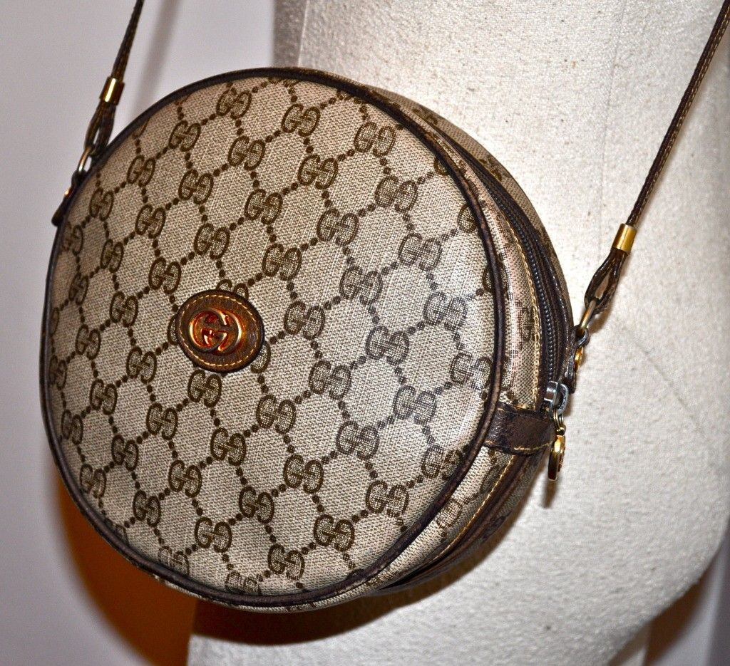 226478dfd133 Vintage 80s GUCCI Canteen Shaped Handbag with GG MONOGRAM - I have this  purse in blue!