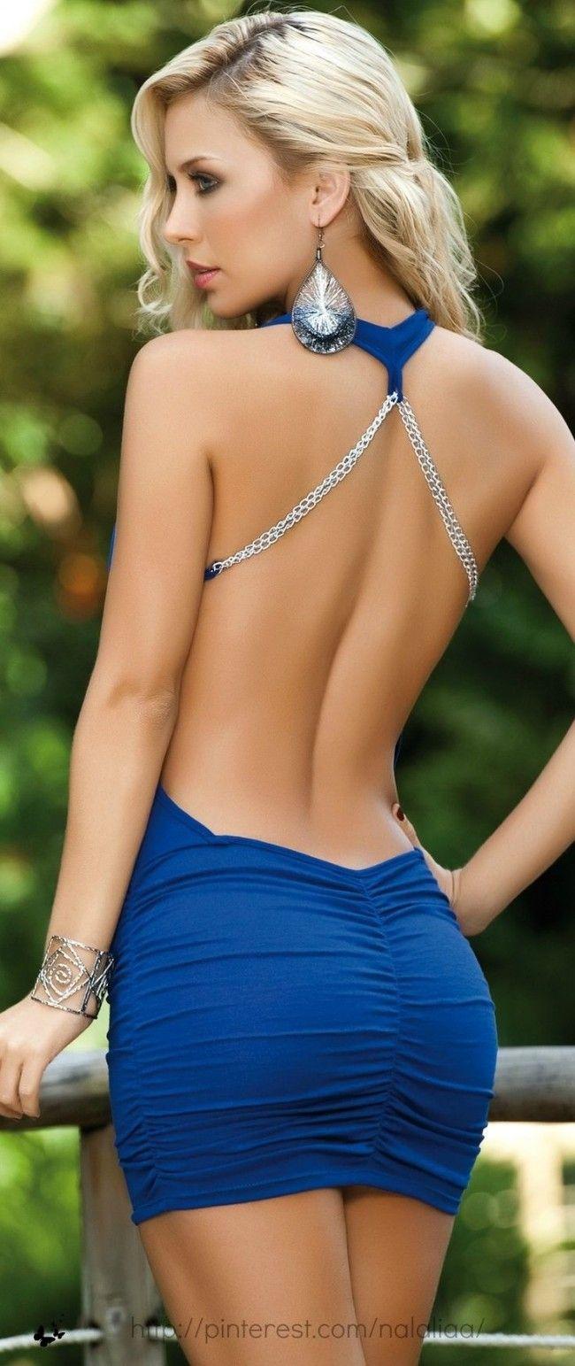Backless short blue dress. Designer? ~~ For more: - ✯ www ...