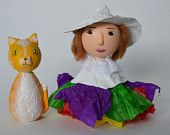 White Witch and her Cat - Halloween - Wooden Kokeshi Dolls - Mixed Media