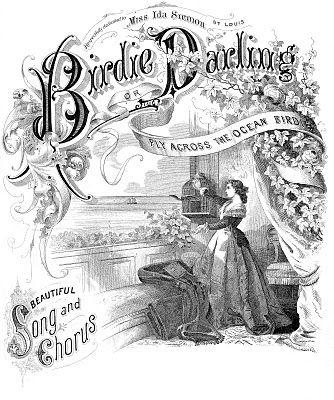 *The Graphics Fairy LLC*: Amazing Ephemera Sheet Music Cover- Bird, Lady, Ocean