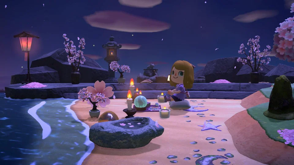 Already Missing The Cherry Blossoms So I Created A Little Sakura Zen Corner On My Island Animal Animal Crossing New Animal Crossing Animal Crossing Memes