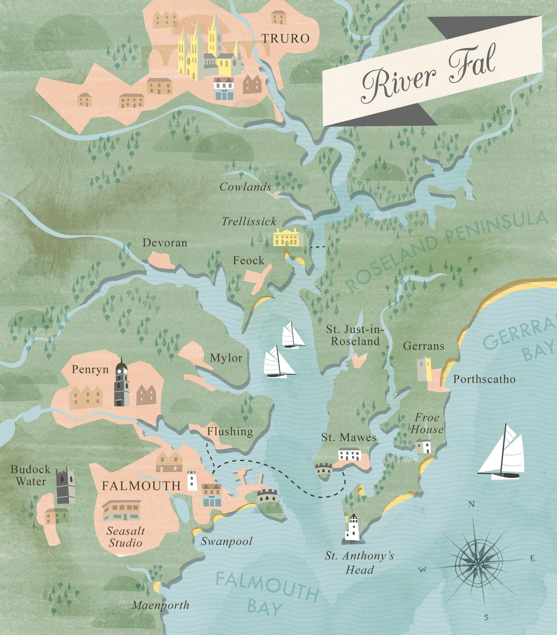 Illustrated map of River Fal showing Falmouth Truro Carrick Roads