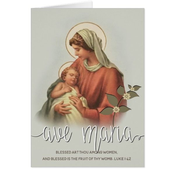 Virgin Mary Mother Baby Jesus Ave Maria Overlay Card Christmas