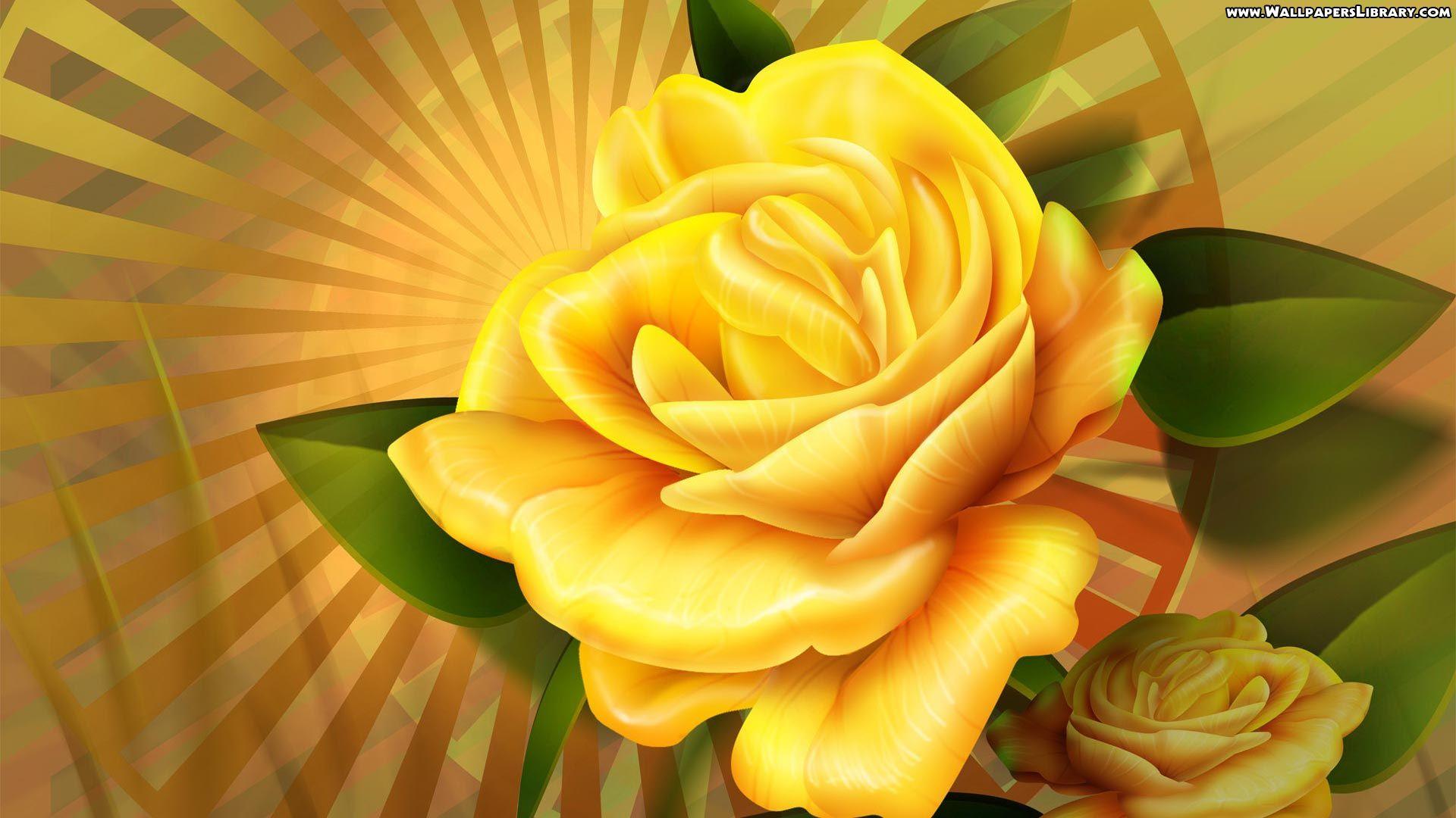 3d Yellow Rose Wallpaper Beautiful Flowers Wallpapers Rose Flower Wallpaper Flower Images Wallpapers