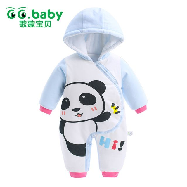 25d8a9dd6 Special offer Newborn Hooded Winter Baby Rompers Panda Baby Boy ...