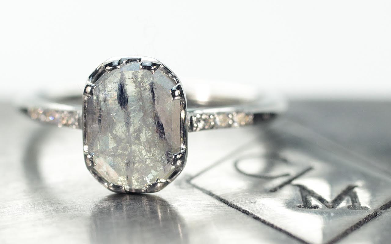 92 Carat Salt Pepper Diamond Ring In White Gold Chinchar Maloney